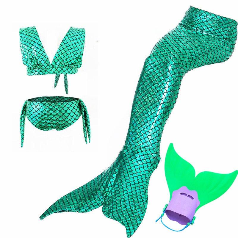 New Girls Mermaid Tails For Swimming Cosplay costume Swimsuit Kids Princess little Mermaid  Swimmable Bikini  Swimwear  monofin