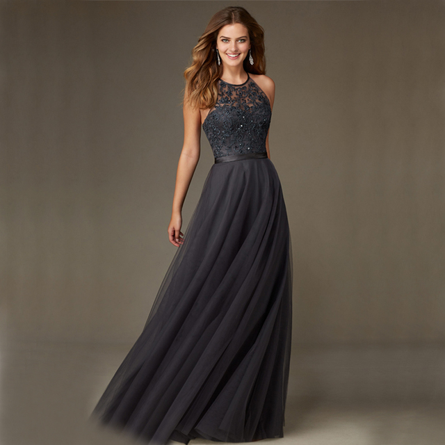 651f4beb85e2 A Line High Neck Lace Sequins Backless Long Dark Grey Evening Dresses 2016  New Arrival Party Formal Gowns XE24