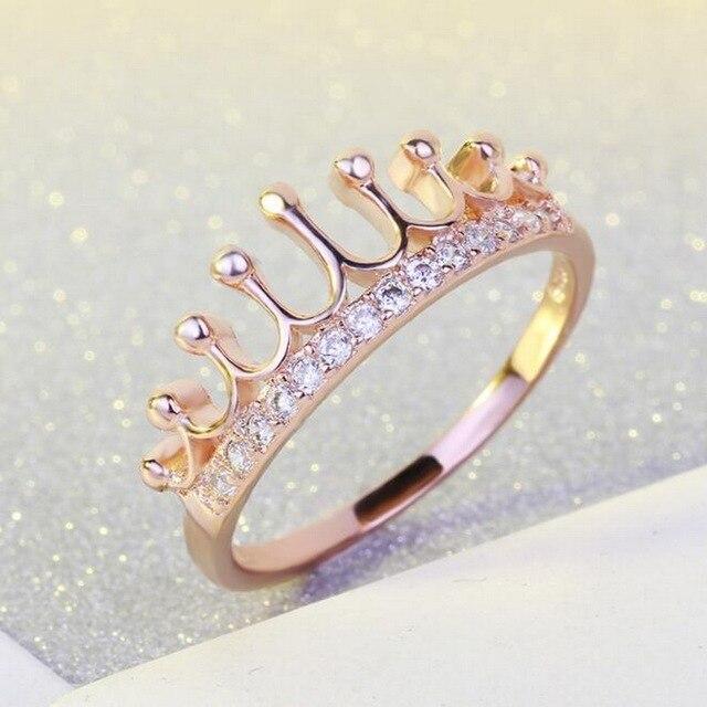 23f182e33240 Rosa de oro de color corona de la Reina Anillos cobre incrustaciones AAA  ZIRCON moda encanto