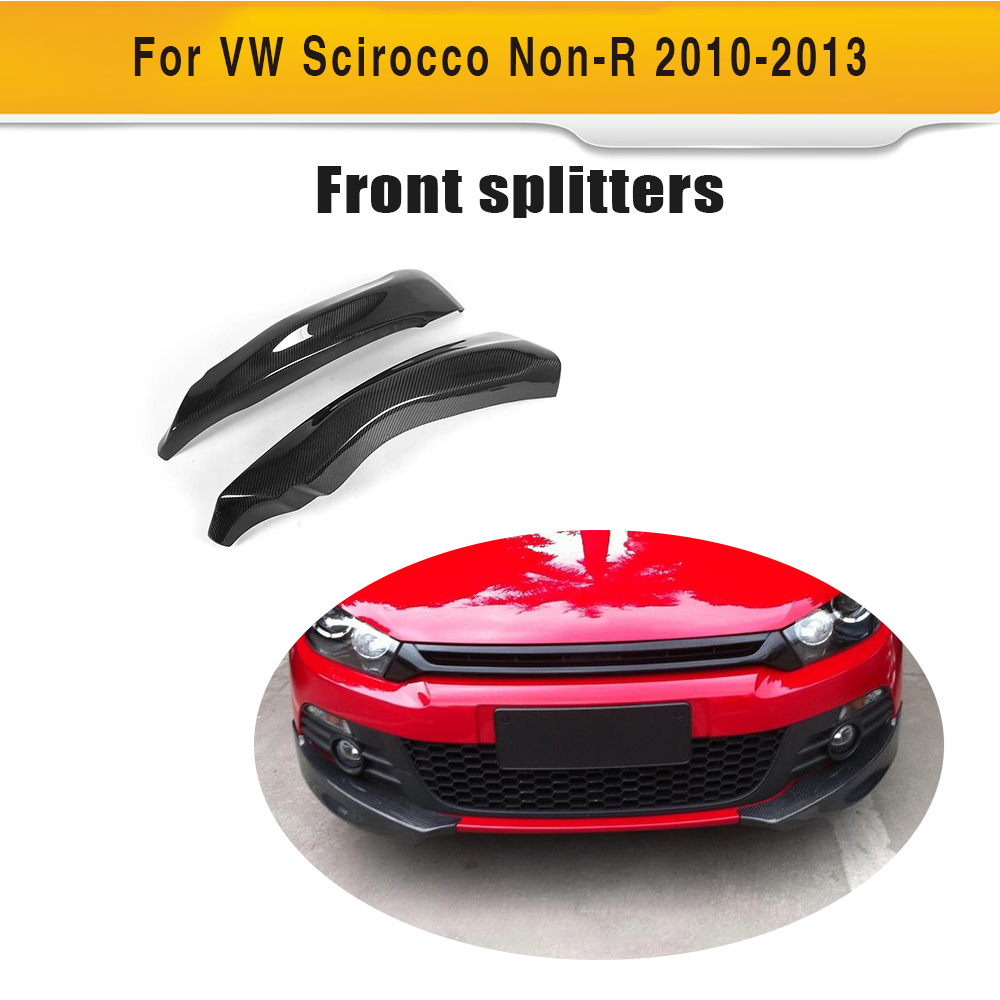 Carbon fiber side apron auto car front bumper splitters Fits for VW Scirocco Standard Only 10-13 Non R
