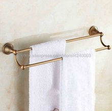купить Classic Antique Brass Wall Mounted Bathroom Double Towel Rail Holder Rack Bathroom Accessories Towel bar, Towel holder Kba077 недорого