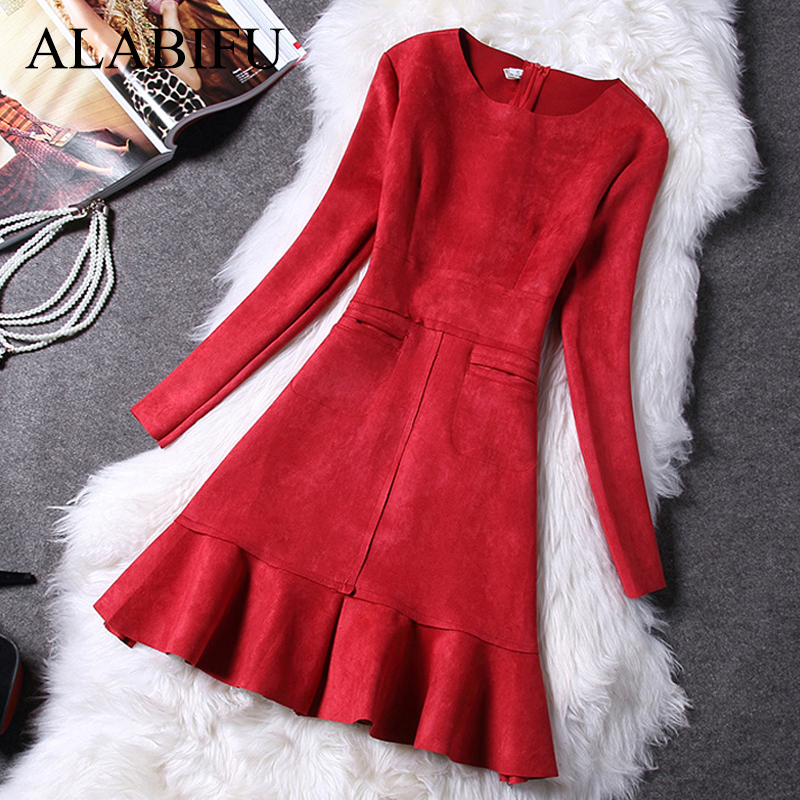 ALABIFU Autumn Winter Dress Women 2019 Casual Long Sleeve Pockets A-Line Sexy Dress Elegant Sexy Slim Evening Party Dresses Red