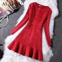 ALABIFU Winter Dress Women 2018 Casual Long Sleeve Pockets A Line Sexy Dress Elegant Sexy Slim Evening Party Dresses Red ukraine