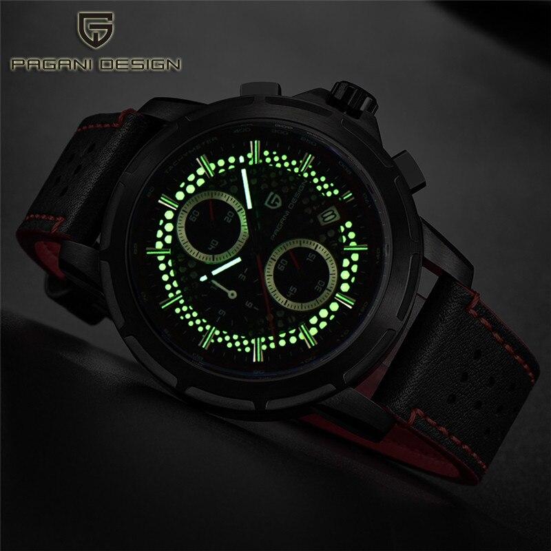 새로운 남성 시계 pagani design 탑 브랜드 크로노 그래프 쿼츠 남성용 가죽 시계 밀리터리 럭셔리 루미 너스 다이얼 relogio masculino-에서수정 시계부터 시계 의  그룹 1