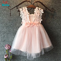 2016 Flower Cotton Lace Girls Dress 3 to 8Y Casual Hot Summer Party Dress for Girls Children striped dress corsage tutu dress