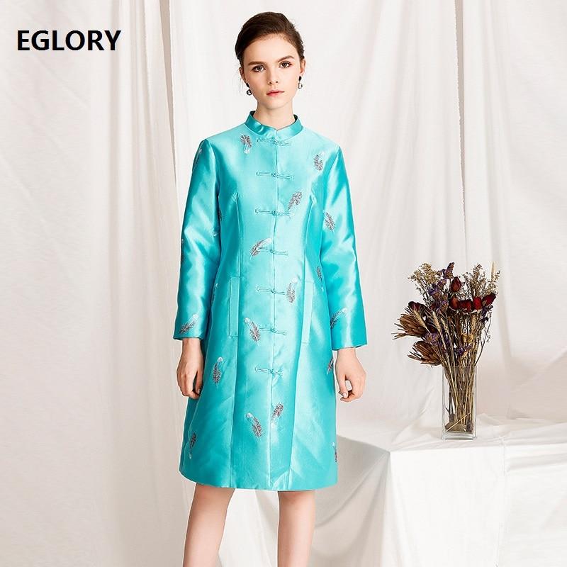 Manteau Unique Mode Taille Broderie Plume Tranchée Manteaux Femme La Vintage Poitrine 2018 Outwear Plus Black Dames Femmes blue qEvwqS