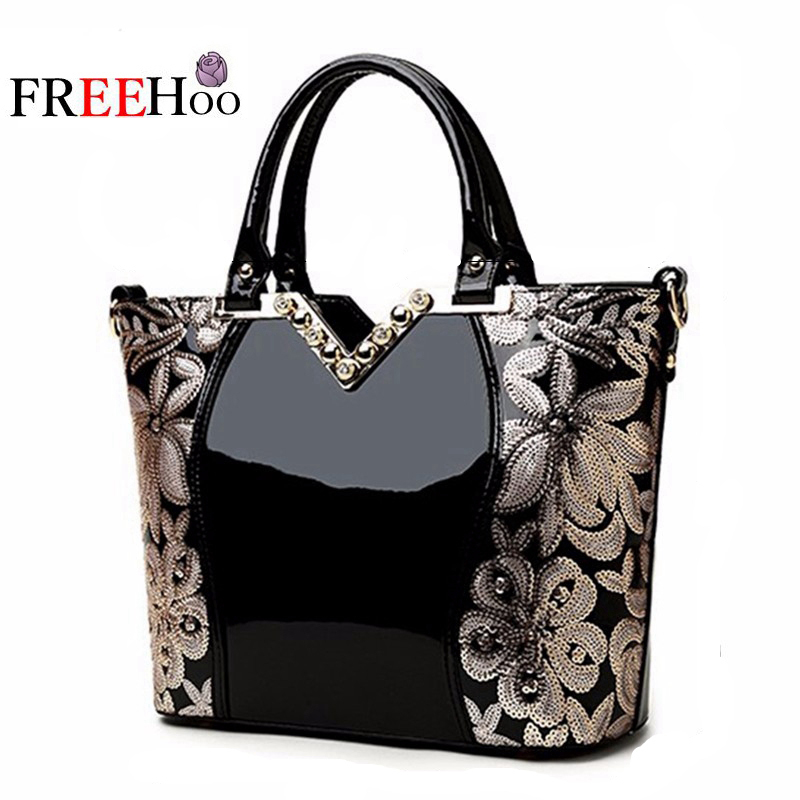 New 2017 Europe fashion women bag sequin embroidery Luxury patent leather famous brands designer handbag