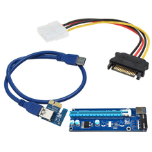 Право Интерфейс Super speed USB 3.0 PCI-E Express 1x to16x Extender Riser Card Адаптер С SATA 15pin Мужчин и 4-контактный кабель питания