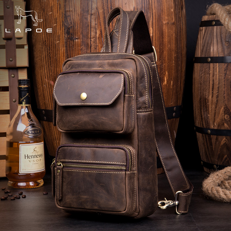 Men Bags Chest Pack Genuine Leather Single Shoulder Back Strap Leather Male Crazy Horse Leather Vintage Chest Bag Crossbody Bag men s bags chest pack casual single shoulder back strap male bag split leather high capacity chest bag crossbody leather