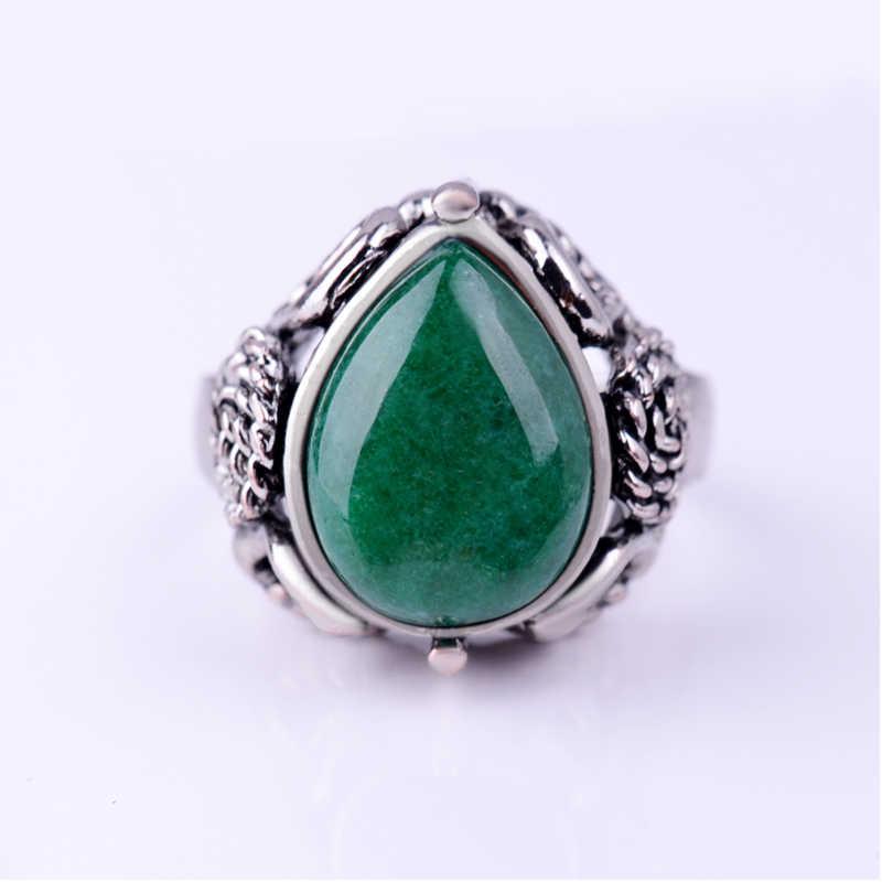 ผู้หญิงหยกแหวนหินโบราณดอกไม้เงินน้ำ Drop - shaped อัญมณีสีเขียวการตั้งค่าเลือกขนาด Vintage ผู้ชายลายนิ้วมือแหวน