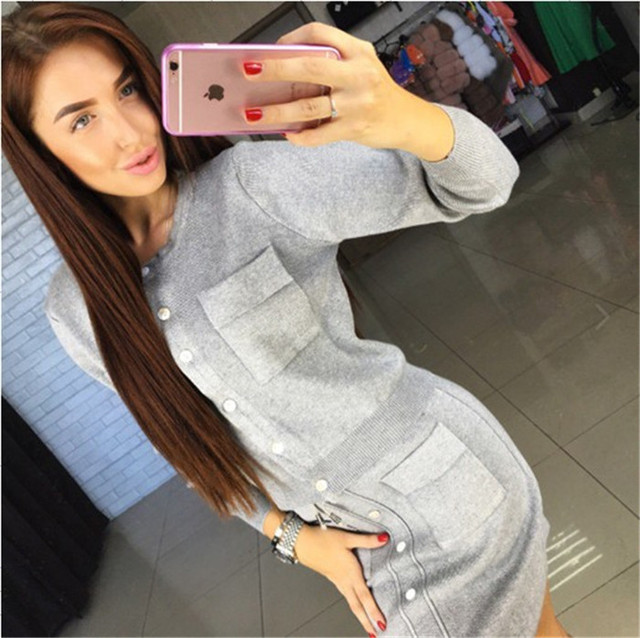 Tracksuits Special Offer Blends Full Single Breasted O-neck 2017 Autumn New Skirt Suit Solid Color Knitted Sweater + Two Female
