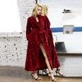 Women Ultra Long Ultra Thick Carved Velvet Fur Big Size Full Length Robe Bathrobe Sleepwear Lounge Robe nightgown nightwear