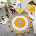 HAKOON Kids Room Rug Round Mats With Pom Pom Trims Large  Crochet Floor Rugs Egg Patten Children Favorite Playmat
