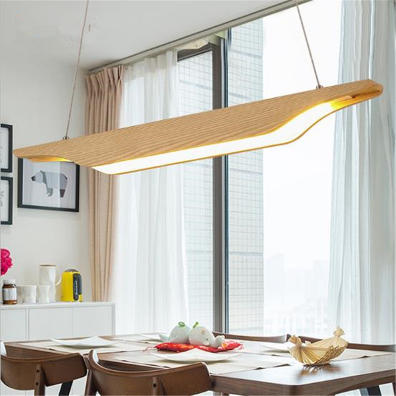 Nordic Creative Rectangular Dining Room Led Chandelier Concise Studio Simple Office Hanging Lights Solid Wood Lamp Free Shipping nordic creative personality dining room pendant light rectangular post modern studio light office light solid wood led lamp