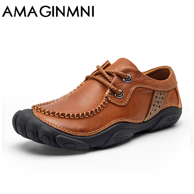 AMAGINMNI Brand 2018 New Breathable Mens Casual Shoes Fashion Handmade Shoes men Soft Comfortable Genuine leather shoes men djsunnymix brand handmade 2017 casual male shoes adult for men genuine leather breathable soft quality comfortable footwear