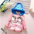 2016 venda Quente do bebê da menina casacos padrão bonito dos desenhos animados da roupa do bebê para o inverno quente com capuz neve desgaste do bebê 3 cores