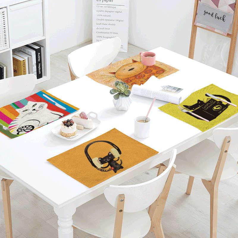 Unique Ideas Dew Linens Table Napkins Tea printed Place Mat Books Fish Polyester Servilletas Para Bodas Design Party Decoration