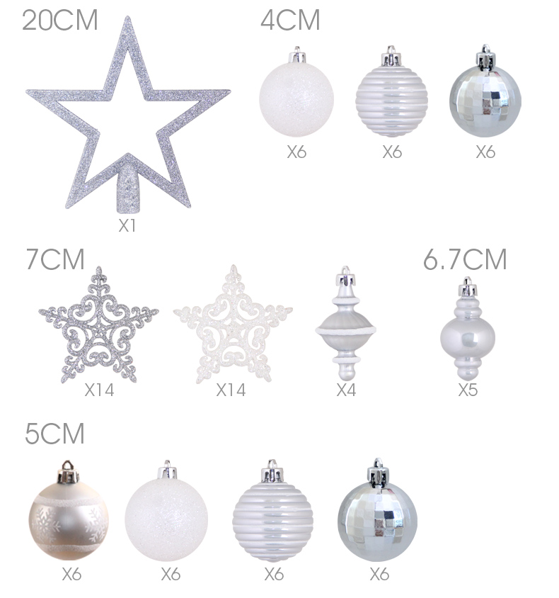 04inhoo 80pcsset Christmas Tree Ball Ornaments Gift Polystyrene Balls Xmas Party Hanging Ball Merry Christmas Decor for Home 2019