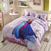 Disney Princess Duvet Cover Flat Sheet Pillow Cases Single Queen Size 100% Cotton Bedding Set Bed Linen Set For Children Lovely(China)