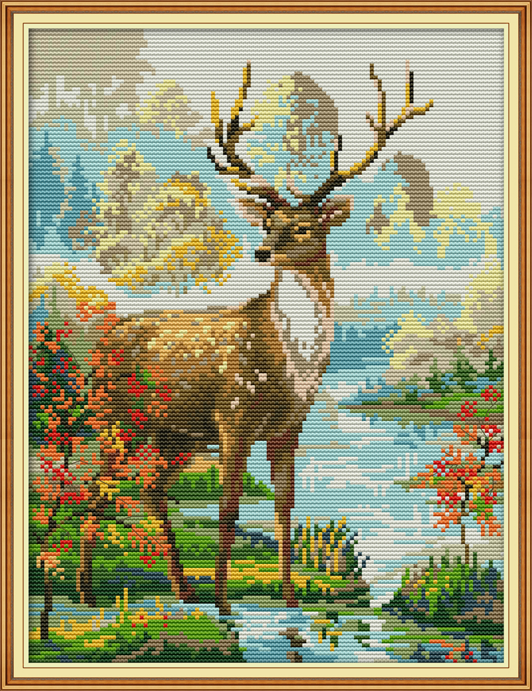 Stag 2 Cross Stitch Kit Aida 14ct 11ct Count Print Canvas Cross Stitches   Needlework Embroidery DIY Handmade