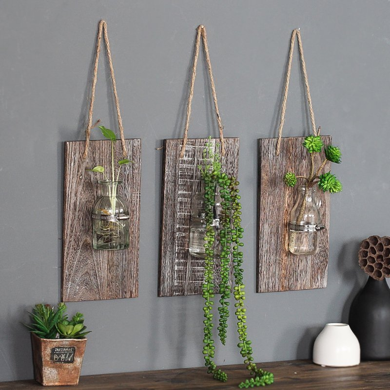 American Country Retro Wall Glass Vase Hanging Glass Terrarium Containers Water <font><b>Plant</b></font> Flower Transparent Vases Home Decorative