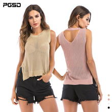 PGSD New Summer Simple pure color casual Sexy Sleeveless O-Neck thin knitted hollow Hem fork Vest female Fashion women clothes