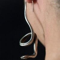 Оригинальный дизайн ручной работы серьги 925 серебро серьги в виде змей серьги в стиле ретро Личность ушные крючки