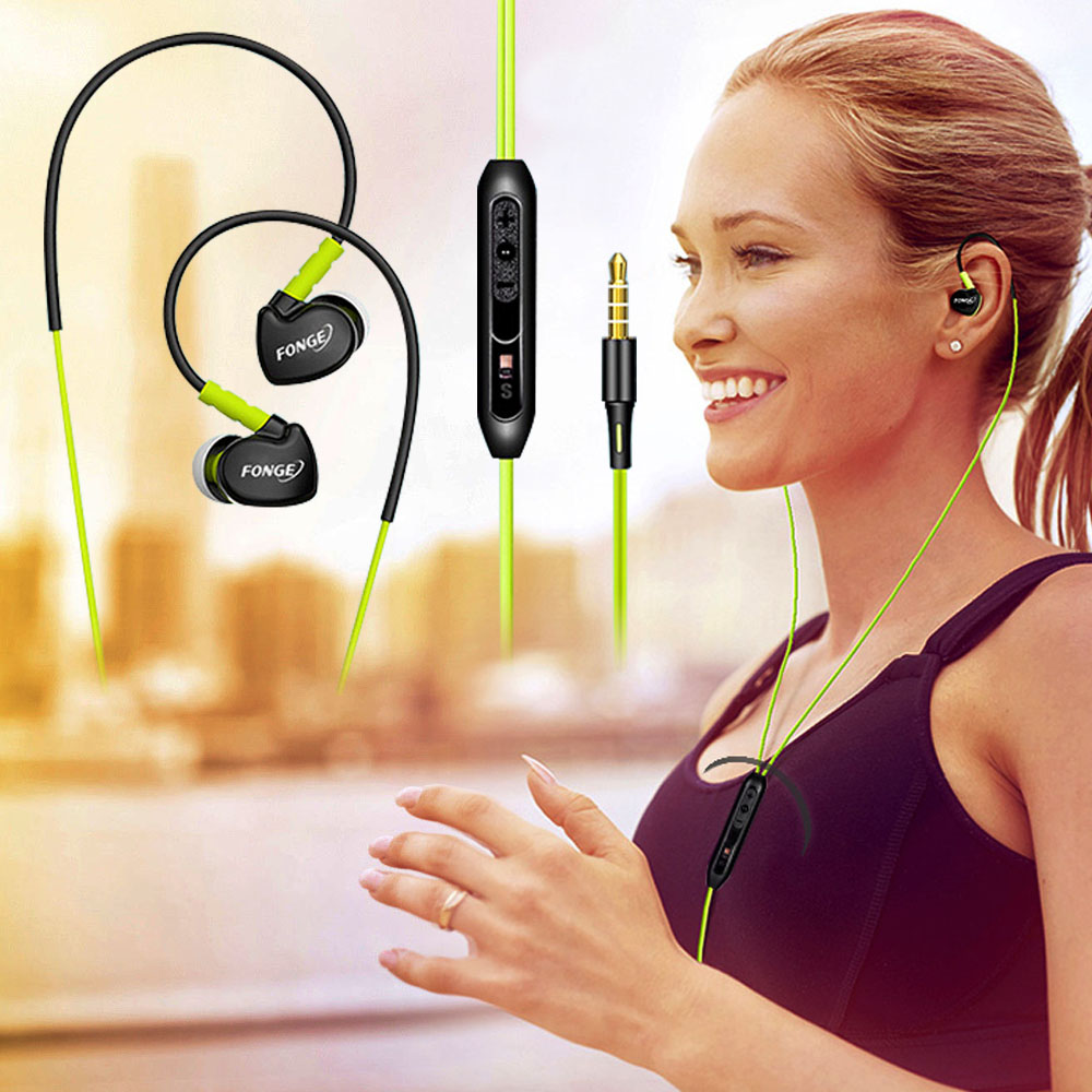 Super Basse Sport Écouteurs Étanche À La Sueur de Stéréo Écouteurs Ear-crochet Casques Avec Micro Pour Xiaomi Sport de Course MP3 iPhone