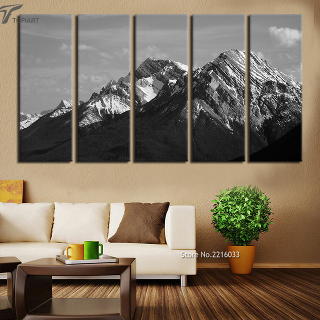 Us 42 2 Large Wall Painting Set Canvas Art Print 5 Pieces Rocky Mountains Landscape Print Artworks For Living Room Home Decor No Frame In Painting