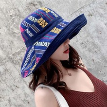 Womens Beach Cap Summer Double-sided Fishermans Hat Korean version National Wind Travel Sunscreen Sunshade