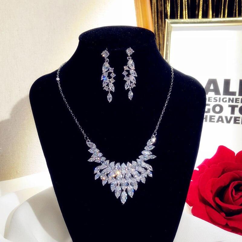 Fine Jewelry Sets For Women 925 Sterling Silver Cubci Zirconia Necklace Pendant Drop Earrings Luxury Bridal Wedding Bijoux Femme