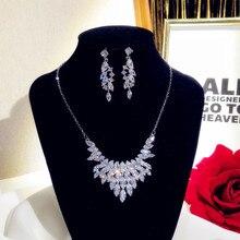 Zestawy biżuterii dla kobiet 925 Sterling Silver Cubci naszyjnik z cyrkonią kropla wisiorek kolczyki luksusowe ślubne Bijoux Femme