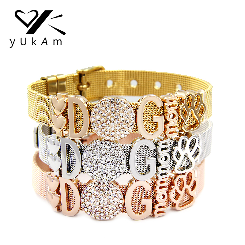 YUKAM Jewelry Crystal Animal Dog Mom Double Heart Paw Slide Charms Keeper Bracelets Bangles Women Stainless Steel Mesh Bracelets heart dog