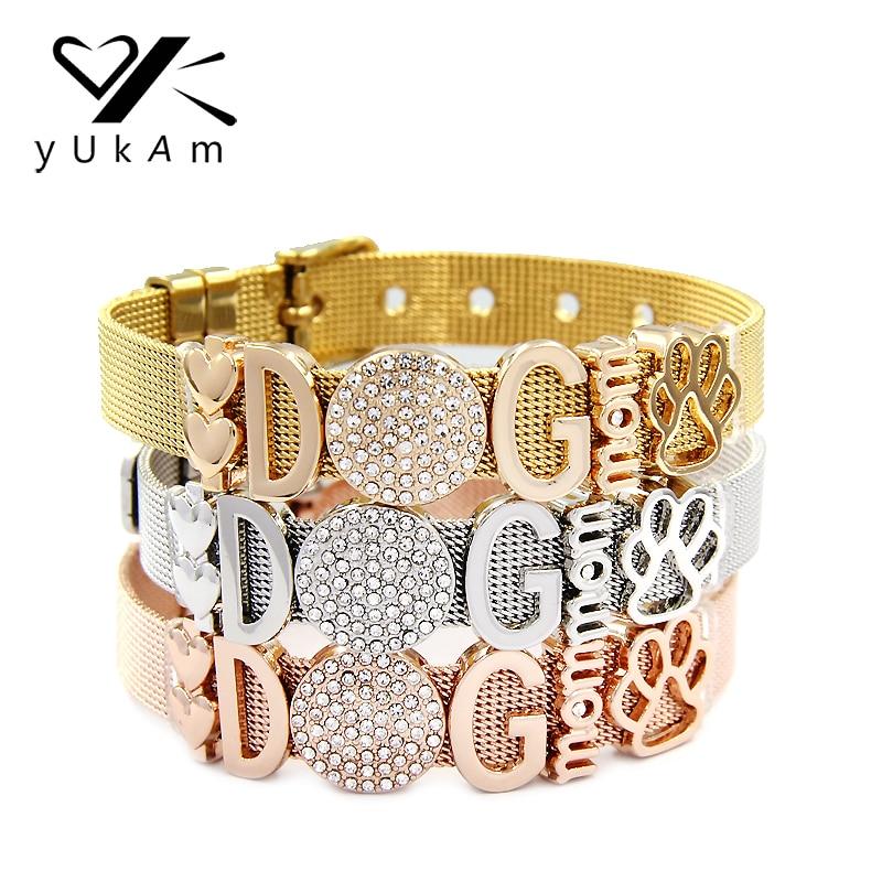 YUKAM Jewelry Crystal Animal Dog Mom Double Heart Paw Slide Charms Keeper Bracelets Bangles Women Stainless Steel Mesh Bracelets
