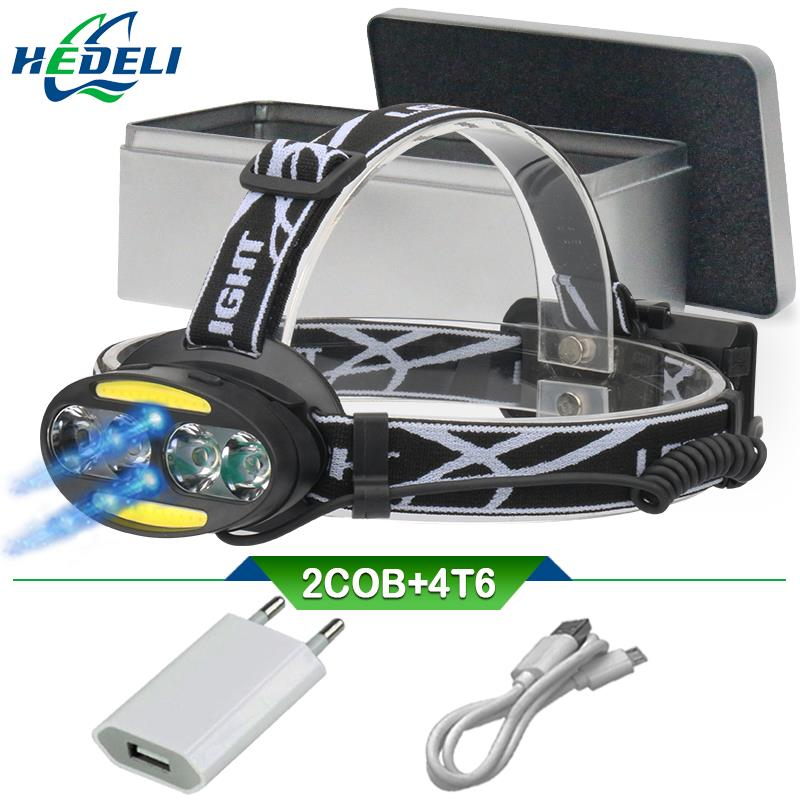 Led Headlamp IR Sensor Rechargeable Led Headlight 4 Cree Xml T6 2 Cob  Head Light Torch Usb 18650 Head Lamp Flashlight Headtorch
