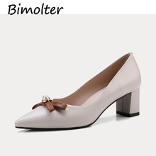 Bimolter Women Pumps Fashion Round Toe Genuine Leather Stiletto High Heels Shoes Spring Wedding Woman Party NC007