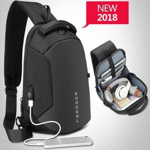 متعددة الوظائف Crossbody أكياس الرجال USB شحن الصدر حزمة قصيرة رحلة رسل حقيبة صدر للرجال المياه طارد حقيبة كتف الذكور n1825