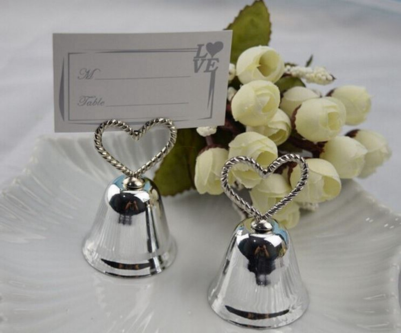 free wedding table card holder silver heart kissing bell place card holder
