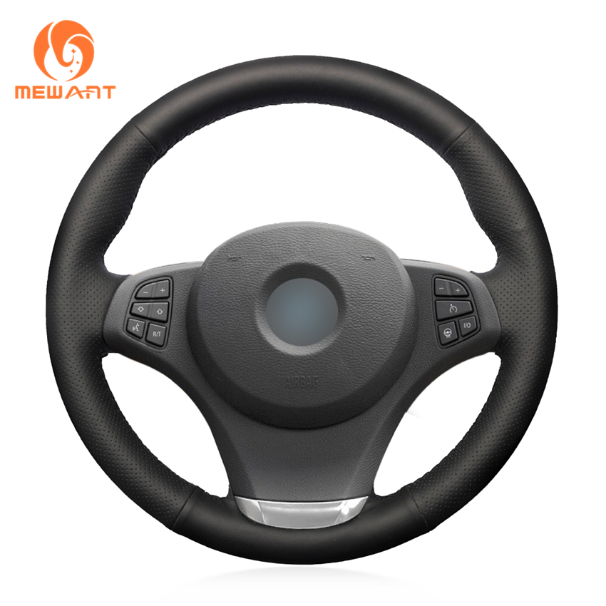 MEWANT Black Artificial Leather Car Steering Wheel Cover for BMW E83 X3 2003-2010 E53 X5 2004-2006