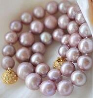 xiuli 003166 8 9MM Genuine Natural Lavender akoya cultured pearl necklace 14KGP GP Magnet Clasp