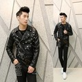 2017 men casual leather jacket Korean Slim nightclub star punk leather costumes hairstylist coat outerwear