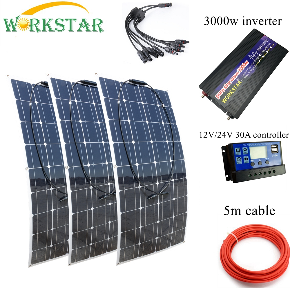 WORKSTAR 3*100W Flexible <font><b>Solar</b></font> <font><b>Panels</b></font> 12V <font><b>Solar</b></font> Charger For RV/Boat Car 300w <font><b>Solar</b></font> System Kit With <font><b>3000w</b></font> Pure Sine Inverter image