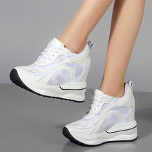 Punk Goth Trainers Shoes Women Cow Leather Wedges High Heel Pumps Breathable Summer Sneakers Lace Up Tennis Casual