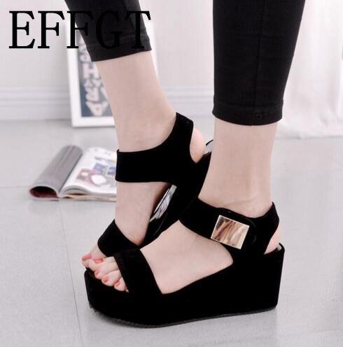 176dea340af9 EFFGT 2018 nouvelles femmes compensées sandales femmes plate forme de  sandales de mode d été chaussures femmes casual chaussures livraison  gratuite M132 ...
