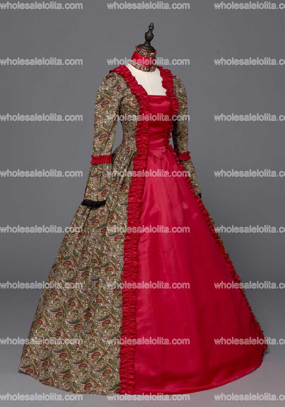 Gothique Robe Géorgien Vêtements Bal Rouge Théâtre Brocade Mascarade De Renaissance ikXZuOP