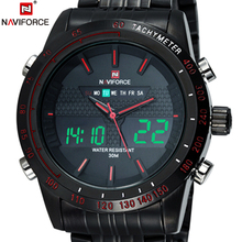 Original Luxury Brand NAVIFORCE Men Quartz Business Black Watch Stainless Steel Sport LED Watch digital Wrist