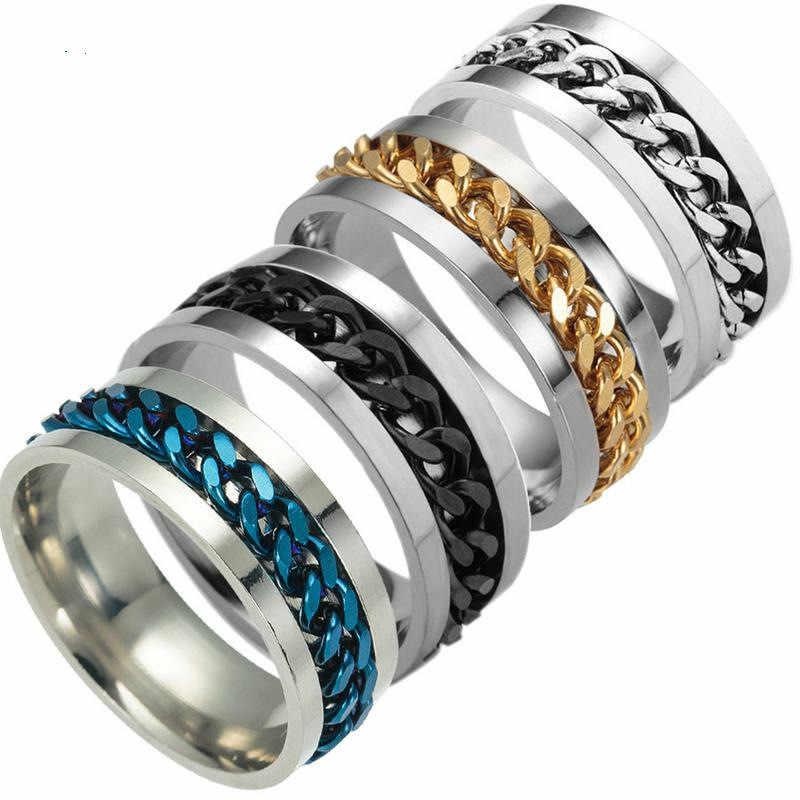 ไทเทเนียมสีดำแหวนโซ่ชายที่มีสีสันแหวนโกธิคคู่แหวนเงินเครื่องประดับขายส่ง