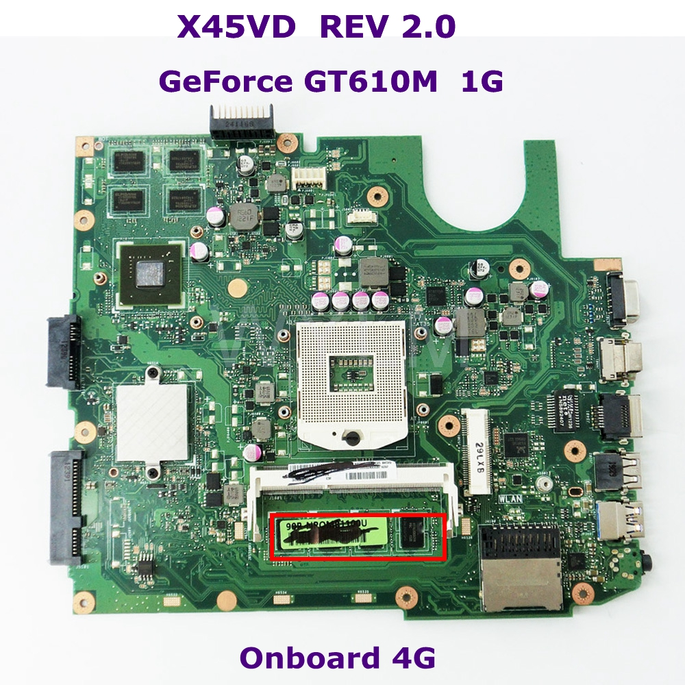 X45VD Mainboard GT610M 1GB N13M-GE6-S-A1 With 4GB RAM For ASUS X45V X45VD Laptop motherboard 60-NROMB1101-C05 100% Tested n13m ge2 aio a1