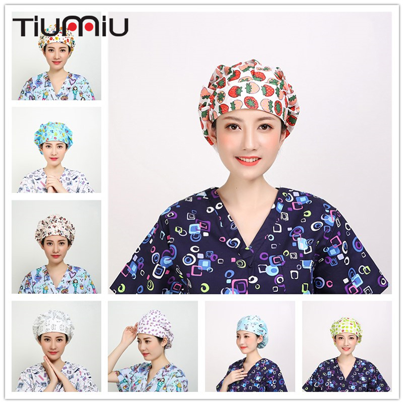 14 Colors Animals Prints Cute Scrub Caps High Quality Gourd Hat Clinic Hospital Dental Surgical Laboratory Pharmacy Medical Caps