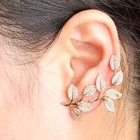 מעודן אסימטריה עלים זרוק עגילים לנשים מלא זירקון Mujer Aretes חתונת הכלה אביזרי אוזן זהב Joyas Brinco